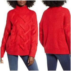 Love by Design Red Cable Mock Neck Sweater